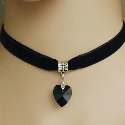 Fashion Gothic Velvet Heart Crystal Choker Handmade Necklace Pendant Retro 80s