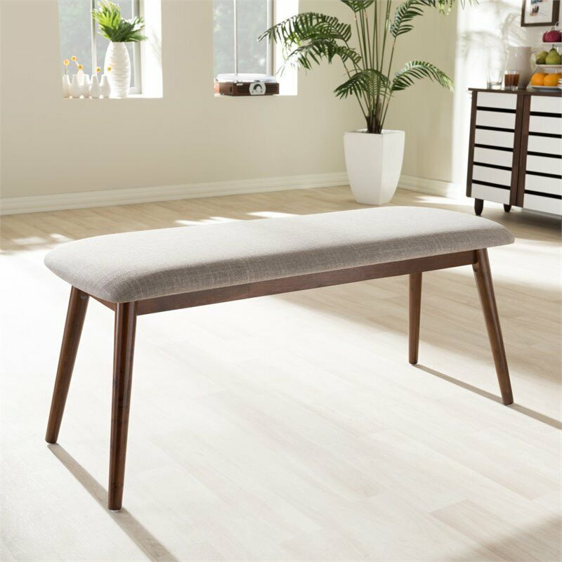 Flora Dining Bench in Light Gray