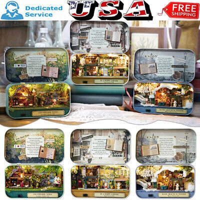 3 Themes DIY Mini Tin Box Theatre Dolls House Dollhouse Miniature Kits Toy US