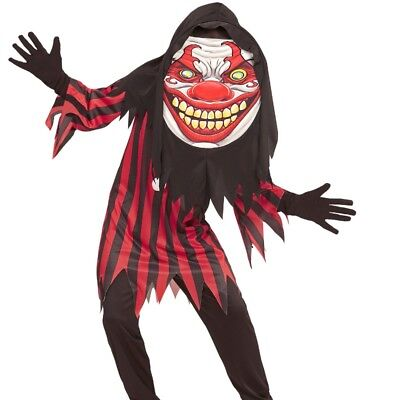 Kinder Jungen Kostüm HORROR CLOWN 158 (11-13 J.) Big Face Halloween großer -