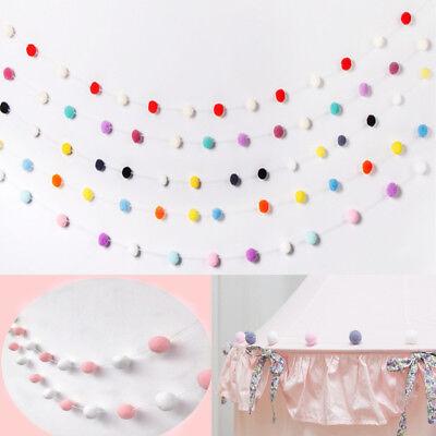 2M Wool Felt Ball Garland Pom Pom Hanging String Craft Xmas DIY Party Wall Decor ()