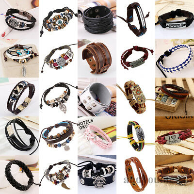 Fashion Handmade Genuine Leather Bracelets for Men Punk Surfer Braided Wristband