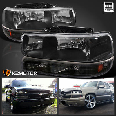 00-06 Chevy Tahoe/Suburban 99-02 Silverado Headlights+Bumper Lights Black 4pc