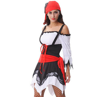 Ladies Pirate Costume with Red Bandana, Fancy Dress - size Small (AU 8 - 10) (Costumes With Bandanas)