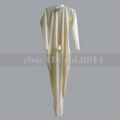 Transparent male latex bodysuit with condom sexy catsuit feet socks - Condom Costumes