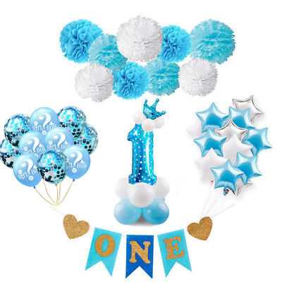 Baby Shower Blue Theme Party Boy Birthday Balloon Set Banner Decortion Supplies (Boys Baby Shower Themes)