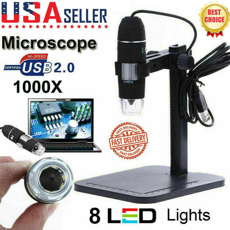 8LED 1000X 10MP USB Digital Microscope Endoscope Magnifier Camera+Lift Stand US