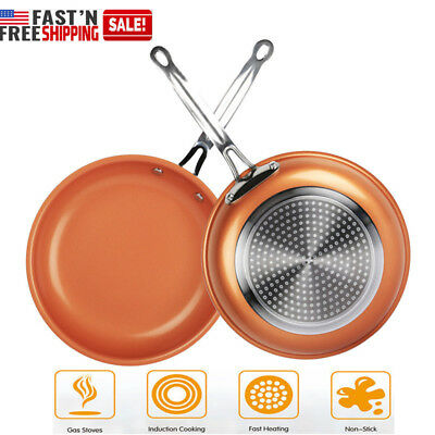Aluminum Round Frying Pan (10 Inch New Induction Copper Coated NON STICK Round Ceramic Aluminum Frying Pan )