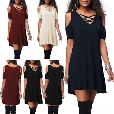 Women Casual Short Sleeve Cold Shoulder Tunic Party Evening Sexy T-Shirt Dress