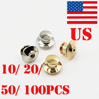 Locking Flathead Lapel Pin Back Clutch Clasp Fastener Accessories X 10-100Pcs US