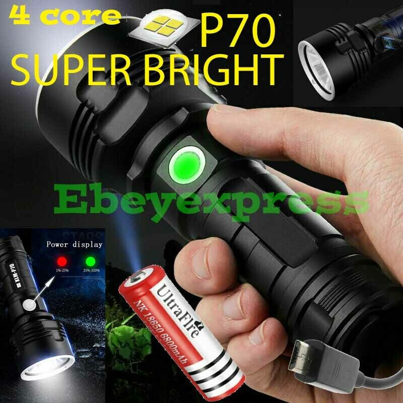 Super-Bright 90000LM Flashlight CREE LED P70 Tactical Torch LED Recharge Battery Flashlights & Work Lights