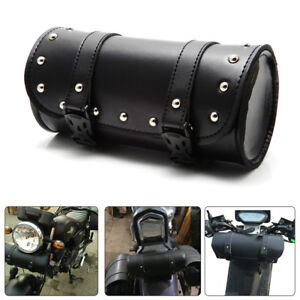 Motorcycle Handlebar Sissy Bar Bag Saddlebag Fork Roll Barrel For Harley 883