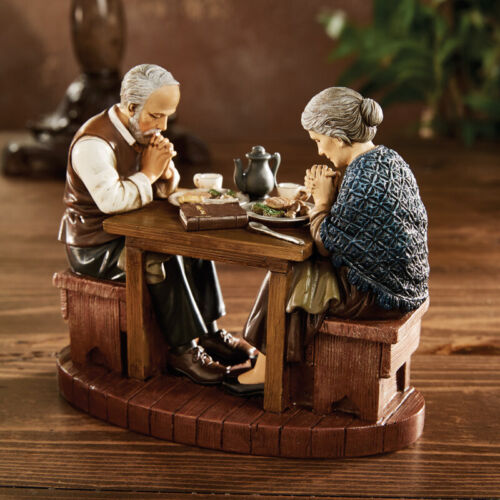 AVALON THANKSGIVING FIGURE Older Couple at Table GRACE NEW 5 INCH ES HIGH