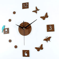 Retro Countryside DIY Wall Clock Wooden Birds Butterfly Home Decoration Hours