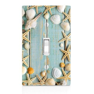 Light Switch Plate Cover Seashell Beach Wood Plank Wall Plate Outlet, - Seashell Wall Plate