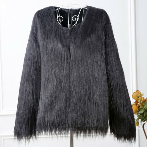 Luxury Women's Winter Faux Fur Warm Jacket Coat Shaggy Cardigan Tops Outerwear 8