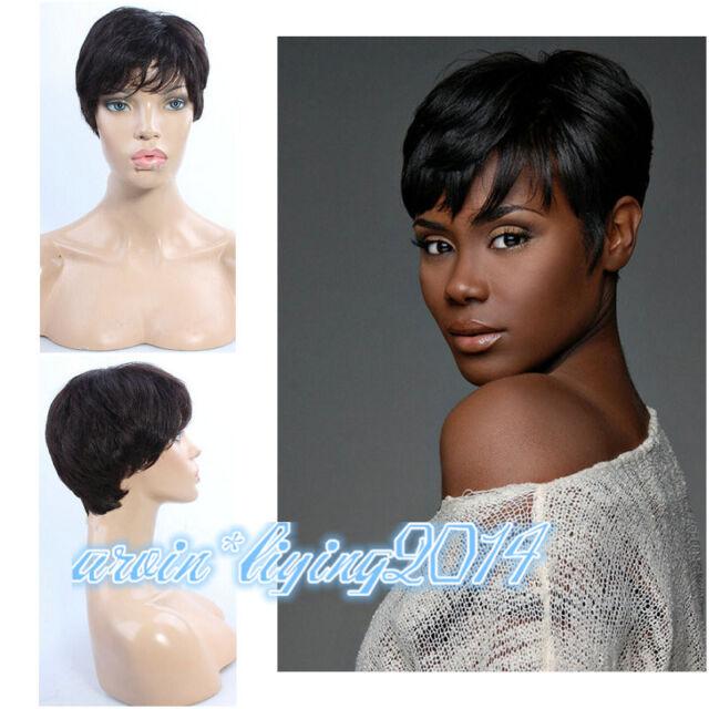Women ladies Black 100% Human Remy Hair Short Straight Daily Wear Wigs +wig cap