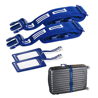 PEARL 2er-Set stabile Gepäck- & Koffergurte 5 x 200 cm mit Kofferanhängern
