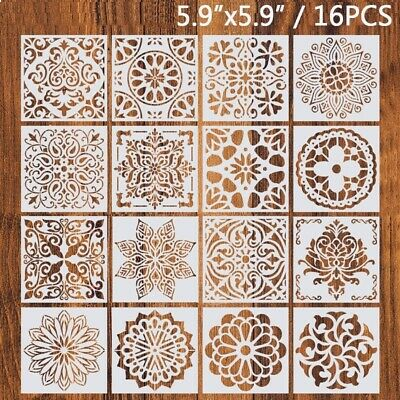 16 Pack Mandala Dot Painting Templates Stencils For DIY Rock Painting Art UK
