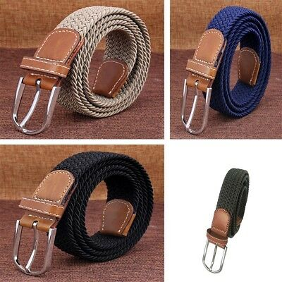 Men's Leather Covered Buckle Woven Elastic Stretch Belt 1-1/4