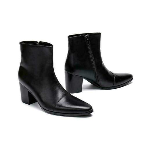 Mens Zip Pointy Toe Cuban Heel Leather Chelsea boots Ankle Boots High Top Shoes