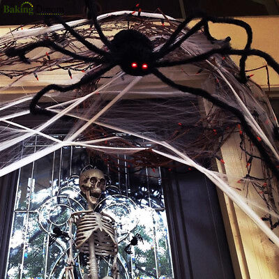 Fake Spider Halloween Horrible Big Black Furry Creep Trick Or Treat Decoration