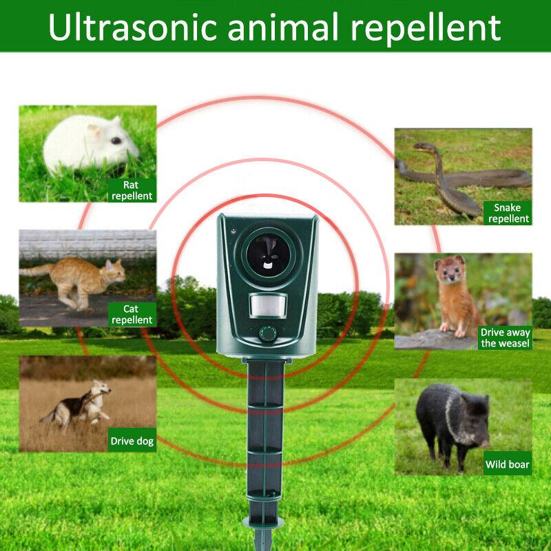 Ultraschall Repeller betriebener Katzenhund Tiervertreiber Vogelabwehr Garten qs