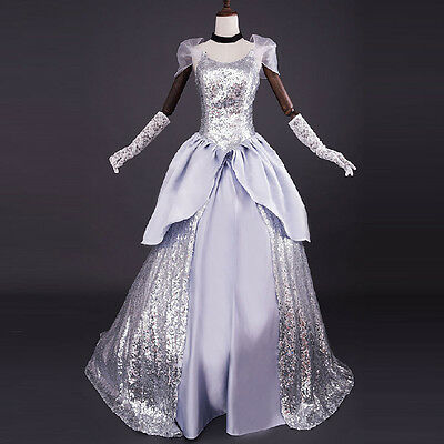 Cinderella Ballkleid Kostüm (Adult Cinderella Formal Dress Halloween Costume Women Evening Party Ball Gowns)