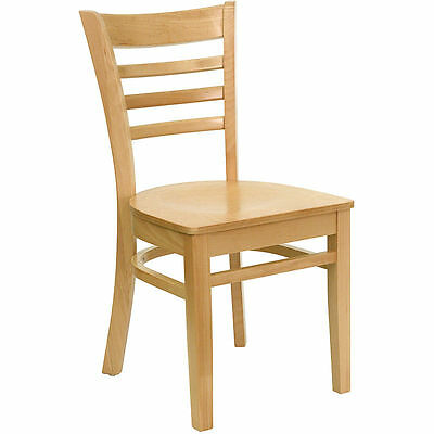 10 Wood Frame Natural Finish Ladder Back Restaurant Chairs W Matching Wood Seat