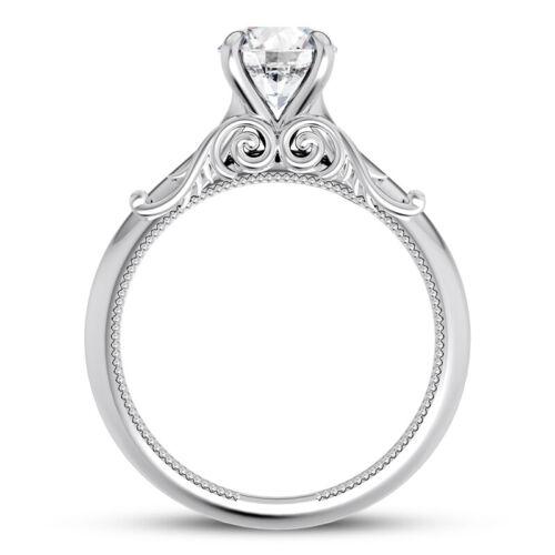 Solitaire 1.01 Carat H VVS2 Round Cut Diamond Engagement Ring White Gold 14k