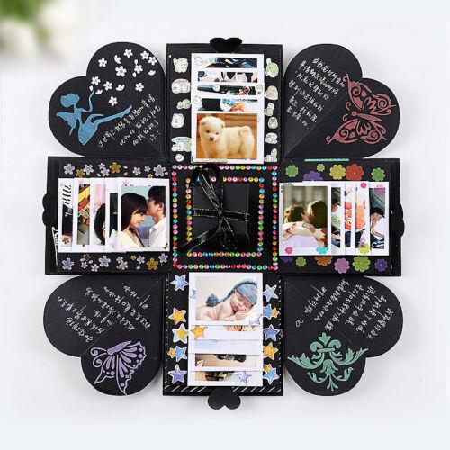 DIY Surprise Explosion gift Box Memory Scrapbook Photo Album Anniversary black