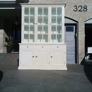 "96"" High Hutch Newer Unit White Display Cabinet"
