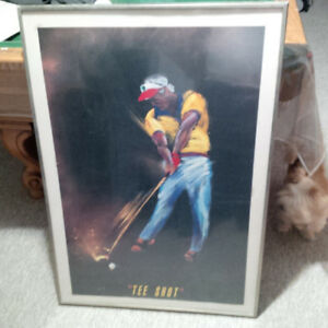 "LOOK !! Large Framed Vintage Jack Nicklaus Golf Poster ""TEE SHOT"