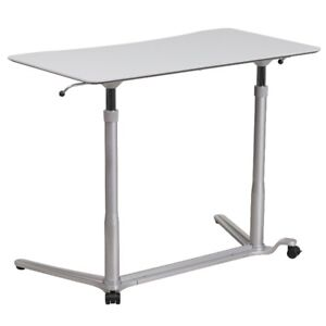 Sit-Down, Stand-Up Light Gray Computer Desk with 37.375''W Top