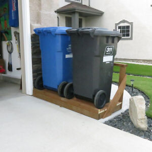 Free standing garbage and recycling storage unit