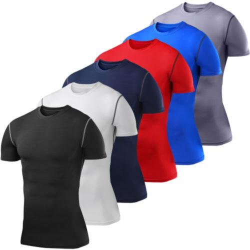 Herren Fitness T-shirt Kompression Kurzarm Funktionswäsche Laufen Gym Top Sports