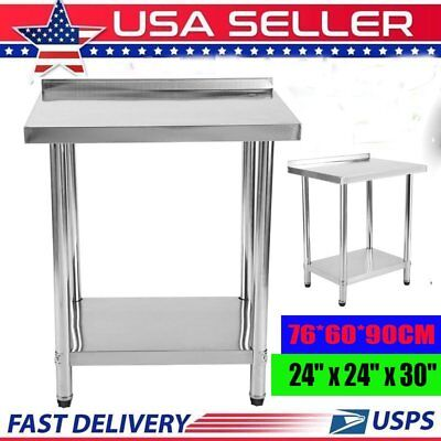 Commercial 24x30 Kitchen Stainless Steel Work Prep Table With 2 Backsplash