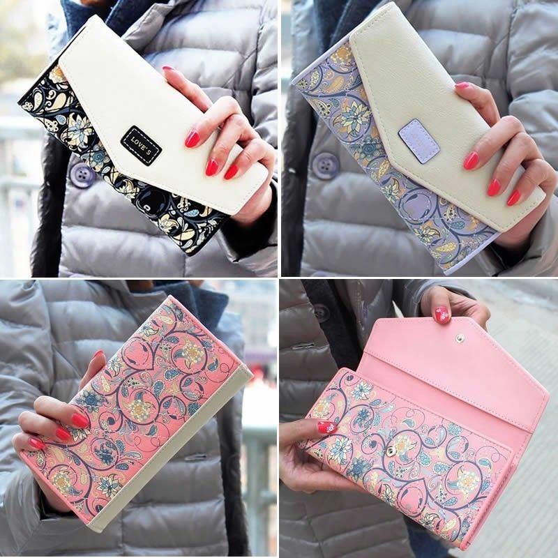Fashion Women Leather Long Wallet Card Holder Clutch Purse Phone Handbag Bag US Clothing, Shoes & Accessories