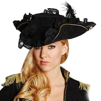 Mot - Kostüm Zubehör Damen Piratenhut schwarz Karneval Fasching - Damen Piraten Kostüm Zubehör