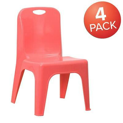 4 Pack Red Plastic Stackable School Chair With Carrying Handle And 11 Seat...