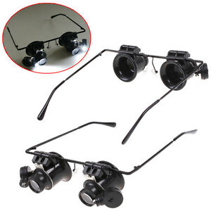 20X Eye Glass Loupe Jeweler Magnifier Magnifying Watch Repair With LED Light UK