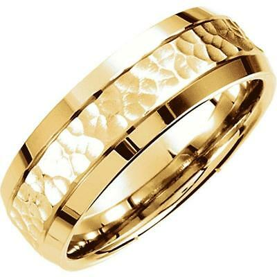 14 Yellow Gold 7.5 MM Fancy Carved Hammer Comfort Fit Wedding - Carved Comfort Fit Wedding Band