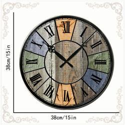 Large Retro Wooden Wall Clocks Room Home Silent Decor Clock Antique European