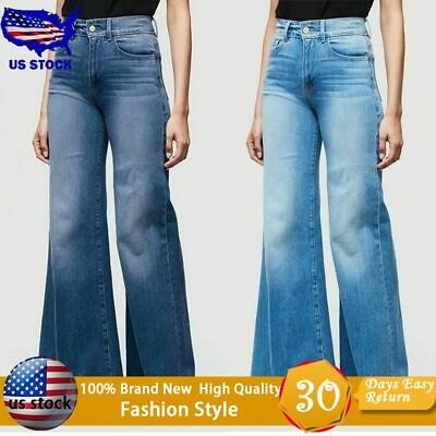 Women Flare Denim Jeans Bell Bottom Wide Leg Pants Hippie Trousers Plus Size
