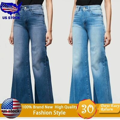 Flared Leg Jeans Pants - Women Flare Denim Jeans Bell Bottom Wide Leg Pants Hippie Trousers Plus Size