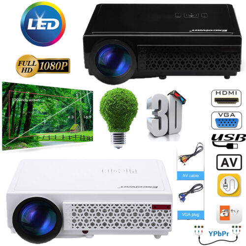 Full HD LED Beamer 1080p 5000 Lumen HDMI USB 3D TV VGA PS4 Heimkino Projektor DE