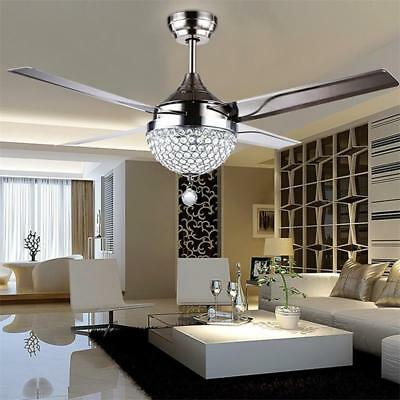 Crystal Ceiling Fan Light Chandelier LED Pendant Lamp Remote Stainless Steel 44