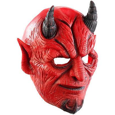 Maske: Teufelsmaske aus Latex-Gummi mit beweglichem Mund (Halloween-Gesicht)