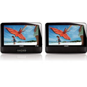 """Portable DVD player Philips dual 9""""screens for car or home"""