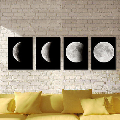 Painting Picture Canvas Print Home Decor Wall Art Abstract Moon on Black Framed